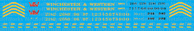HO Scale - Winchester Western GP38 Diesel Decal Set
