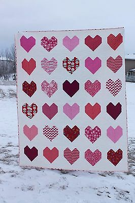 New Handmade Twin Sized Quilt with Hearts 61 inches by 76 inches