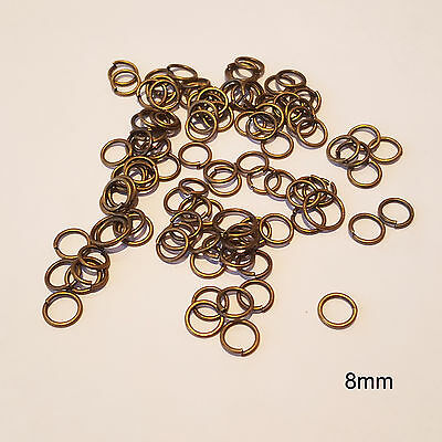 100  x 8mm Antique Bronze Open Split Jump Rings for DIY Craft Jewellery Making