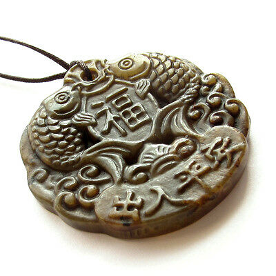 Old Jade Happy Lucky Child Lotus Root Pendant Double Faces