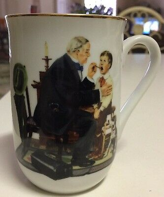 """Norman Rockwell Mug Series.""""The Country Doctor """" 24 Pure kt Gold Trim."""