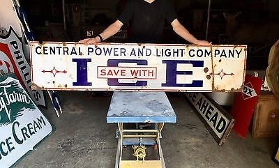 Original 1930's Porcelain Ice Advertising Sign Power and Light company Rare!