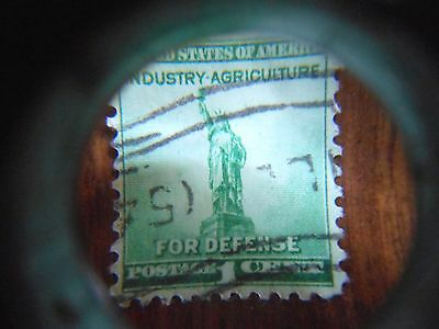 Vintage US Postage Stamp For Defense Industry Agriculture Statue Of Liberty 1c