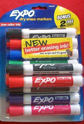 EXPO Low Odor Dry Erase Markers Chisel Tip Assorted 8 Colors BONUS+Black+Red= 10