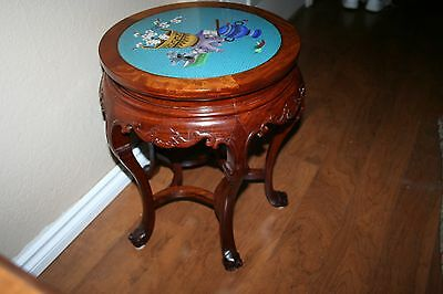 Vintage Asian Cloissone Top Rosewood End Table