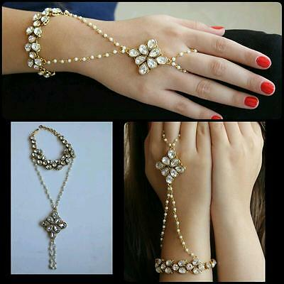 Indian Bollywood Pearl Chain Hand Jewelry Bridal Partywear Wedding Bracelet