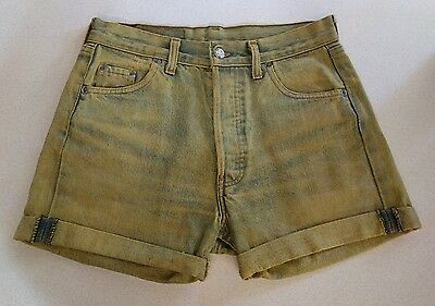 vintage early 80s levis 501 button fly high waisted cutoff shorts yellow wash