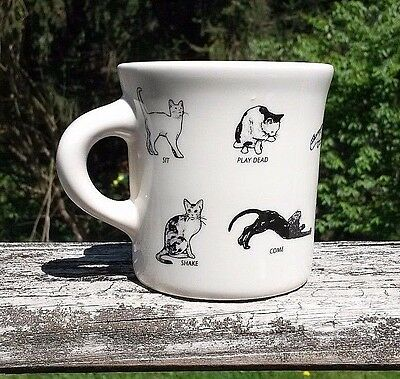Homer Laughlin China Fishs Eddy Cat Tricks Heavy Oversize 8 oz. Ceramic Mug