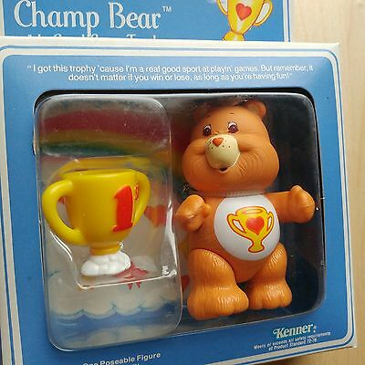 vtg Care Bears MIB Champ Bear poseable with trophy accessory NEW Kenner 80's toy