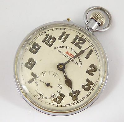 Antique Siro Railway Timekeeper Brass Cased Mechanical Pocket Watch (Needs Work)