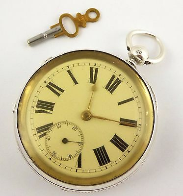 Large Thick Antique 1875 Fusee Hallmark Sterling Silver Lewis Levy Pocket Watch