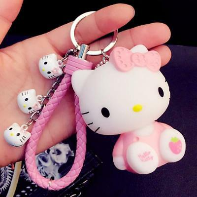 Super Cute Hello Kitty Key Chain Key Ring c/w Bells Pink Plush Ball Pendant Doll