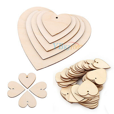 Wooden Wood Love Heart Shape for Wedding Plaques Art Craft Home Decorations 3mm