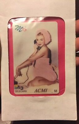 Vintage ACMI $3 Phone Card Marilyn Monroe On Telephone Wrapped In Bath Towel