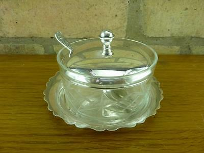 lovely Vintage silver plate & cut glass Preserve dish spoon and tray