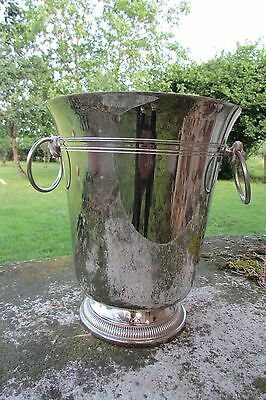 Lge Weighted Vintage French Stainless Steel Ice Bucket Champagne Wine Cooler