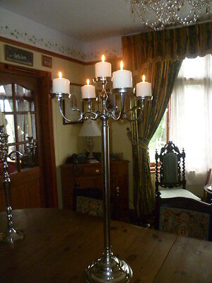 "Tall 35"" 90cm FLOOR Standing Large Table Pillar Candle Flower Silver Candelabra"