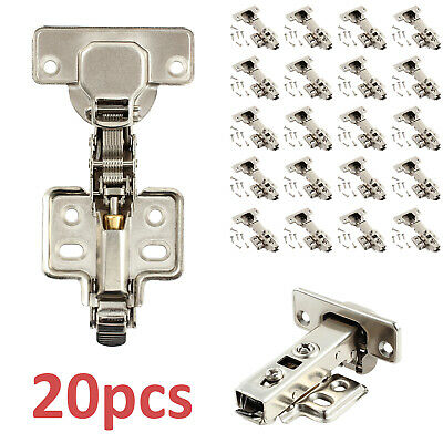 20 x Door Hinge Cabinet Cupboard Hinges Soft Close Full Overlay Wardrobe Kitchen