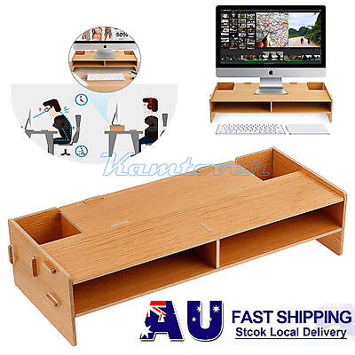 Desktop Monitor Stand Computer Screen Riser Home Office TV LCD Shelf Plinth Wood