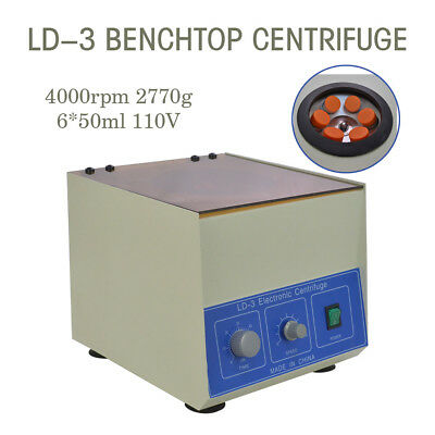 New! LD-3 Electric Benchtop Centrifuge Lab Medical Practice 4000rpm 6*50ml