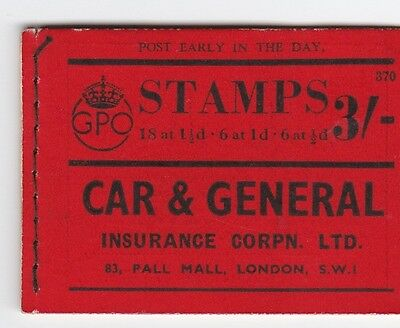 F110: Great Britain Stamp Booklet 1938 BD22 Edition 370 partially complete £1900