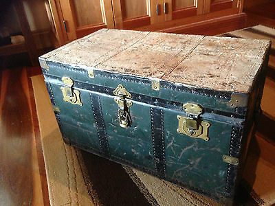 Vintage Rustic Metal Travel/Shipping Trunk