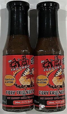 906116 2 x 240mL BOTTLES OF CHILLI FACTORY'S TOMATO SAUCE, FIERY FRILLNECK HISS!