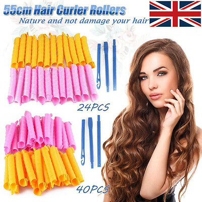 Large 55CM Magic Hair Curlers No Heat Cheap Rollers Spiral Circle Tools 40PCS/24