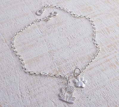 Sterling Silver Cat & Pawprint Paw Print Ankle Chain Bracelet Anklet 925