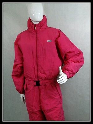 Vintage Retro Ski Suit All in One 80'S 90'S Pink Golden Team Size: 44