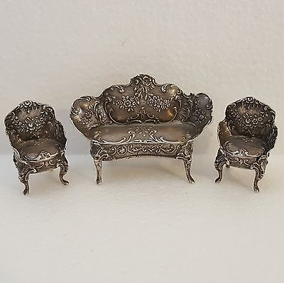 19th Victorian Era Set of Miniature Dutch Sterling Silver Sofa + Chairs. Marked.