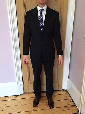 Howick House Of Fraser Suit 38R 32W Mens Navy Pinstripe Glasgow Warriors Rugby