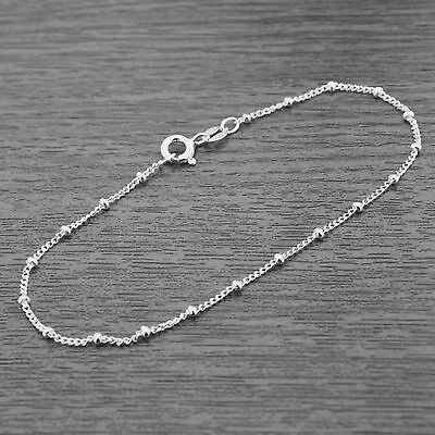Genuine 925 Sterling Silver Ball Beaded Curb Chain Bracelet