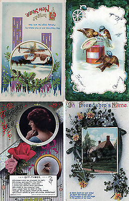 Lot Of 4 Antique Original, New Year Wishes, In Friendships, Greetings Postcards