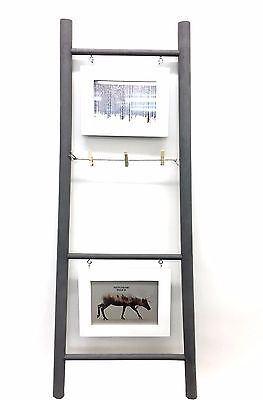 Ladder Photo Frame Holder Grey 3 Rungs 2 Frames Photo Display Stand Frame Decor