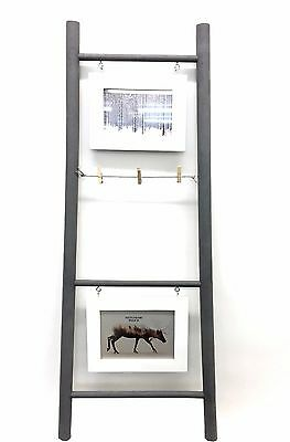Ladder Photo Holder Grey , 3 Rungs & 2 Frames Photo Display Stand Frame Decor