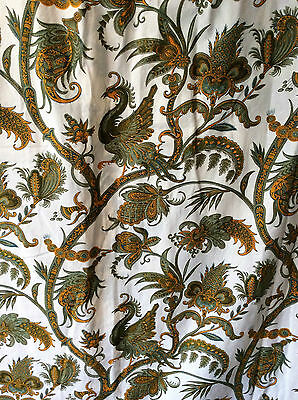 "Pair French Romanex Boussac 'Samarcande' paisley cotton curtains 73""L x112""W ea"