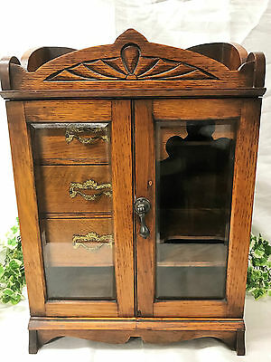 Beautiful Antique English Edwardian Art Nouveau Oak Smoker's Pipe Cabinet