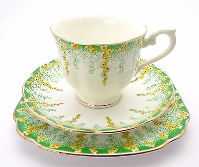 Royal Albert Crown China APRIL SHOWERS Trio, Tea Cup Saucer Teaplate c'1927