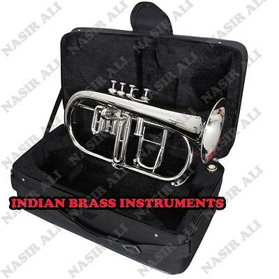 IBI FLUGEL HORN Bb PITCH BRASS WITH FREE HARD CASE AND MOUTHPIECE, NICKEL SILVER