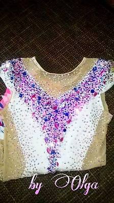Made To Measure Rhythmic Gymnastic Leotard White Mix colours 4500+ crystals