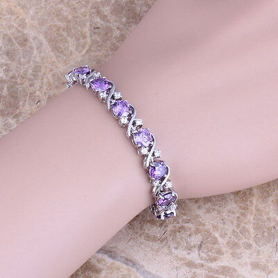 Sterling Silver Purple Amethyst White Topaz Tennis Bracelet Curved cross 7""