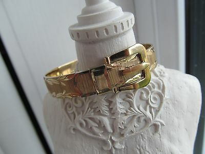 Stunning 1970`s Fully Hallmarked Solid Buckle Bracelet Gold On Silver 27.8 Grams