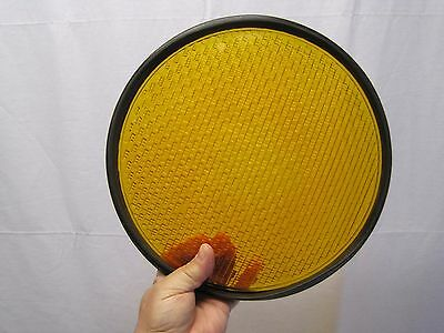 """12"""" Yellow Caution Glass Stoplight Lens With Gasket B6692"""