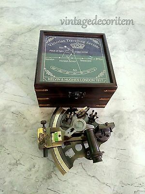 "Antique Nautical Maritime Brass sextant 4"" with wooden box Vintage Collectible"
