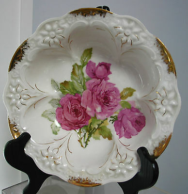 "10"" Antique CT Carl Tielsch Germany Serving Bowl, Victorian Roses, Beautiful"