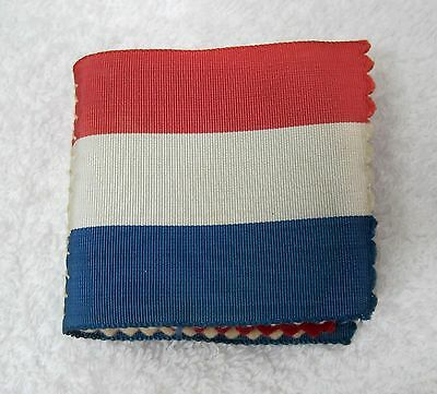 Antique Red White Blue Silky Ribbon & Felt Sewing Needle Pin Holder Handmade D1