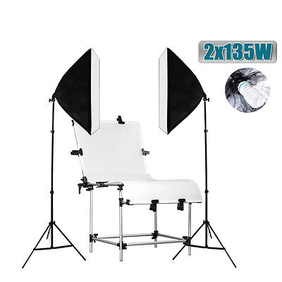 Photo Studio 60x130cm Shooting Table 1350W Softbox Continuous Lighting Stand Kit