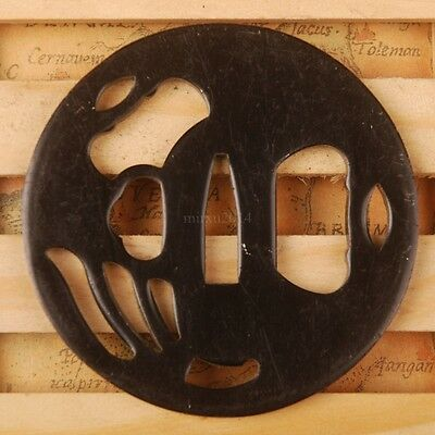 Iron Tsuba Handguard for Japanese Samurai Katana Wakizashi Tanto Sword BROWN