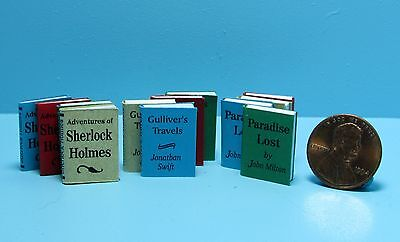 Dollhouse Miniature 12 Piece Book Set with Pages and Printed Covers ~ IM65778